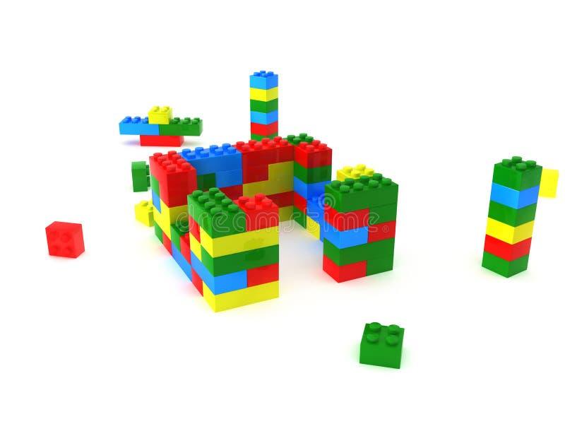 Os cubos de cores diferentes montaram â1 ilustração do vetor