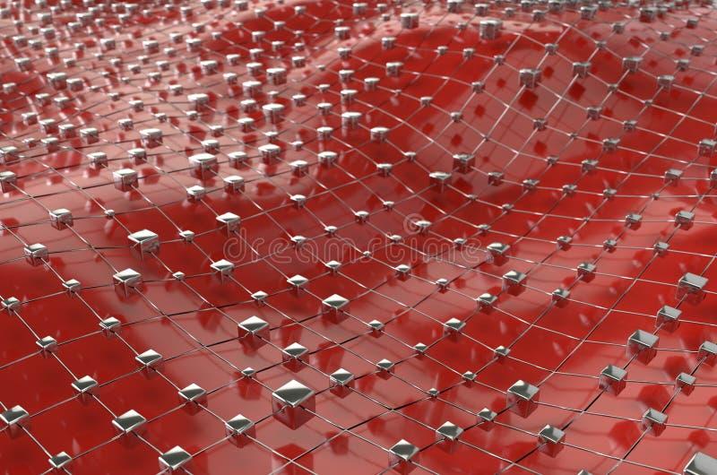Os cubos metálicos do wireframe vermelho engrenam com o fundo do sumário da paisagem da onda da bola Ilustra??o grande dos dados  ilustração royalty free