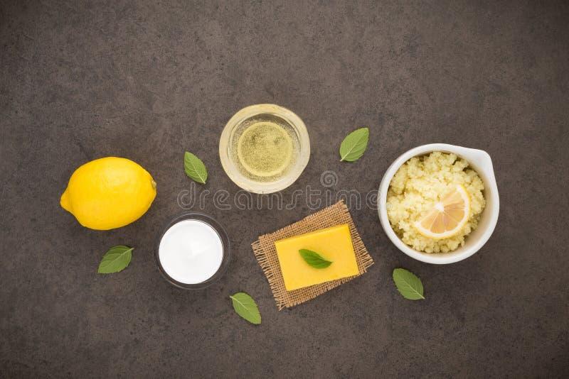 Os cuidados com a pele caseiros e o corpo importam-se com sal natural dos ingredientes, foto de stock royalty free