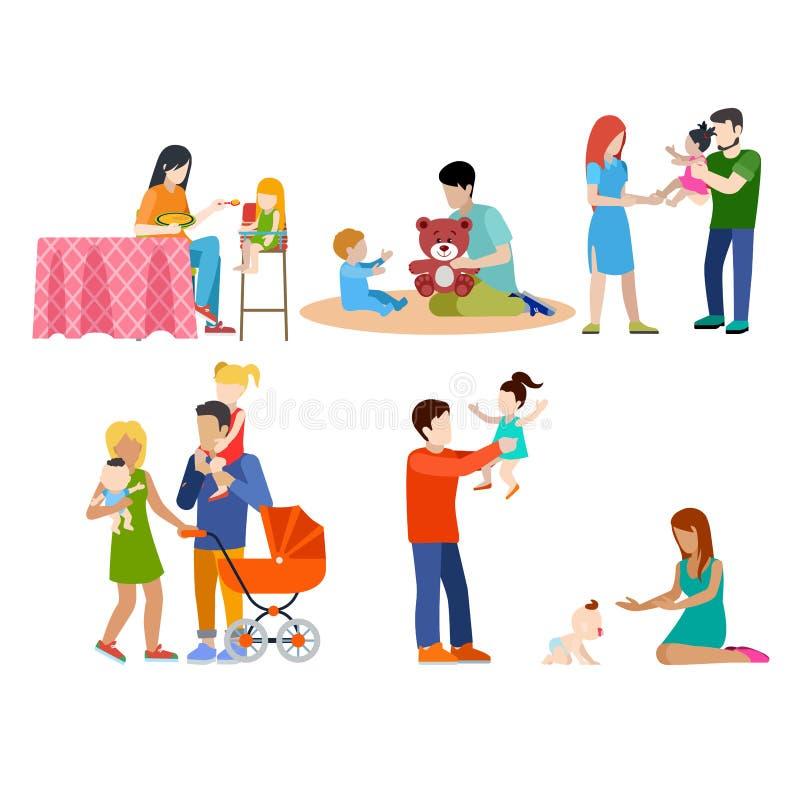 Os cuidados da família que babysitting jovens parents o pa ilustração royalty free