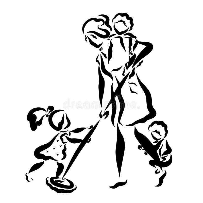Os cuidados fêmeas, a família e a limpeza, crianças jogam, mamã lavam o assoalho ilustração do vetor