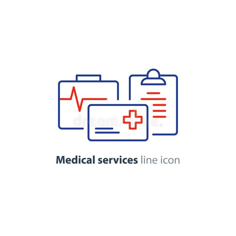 Os cuidados médicos prestam serviços de manutenção à linha fina ícone, logotipo do cartão do seguro ilustração stock