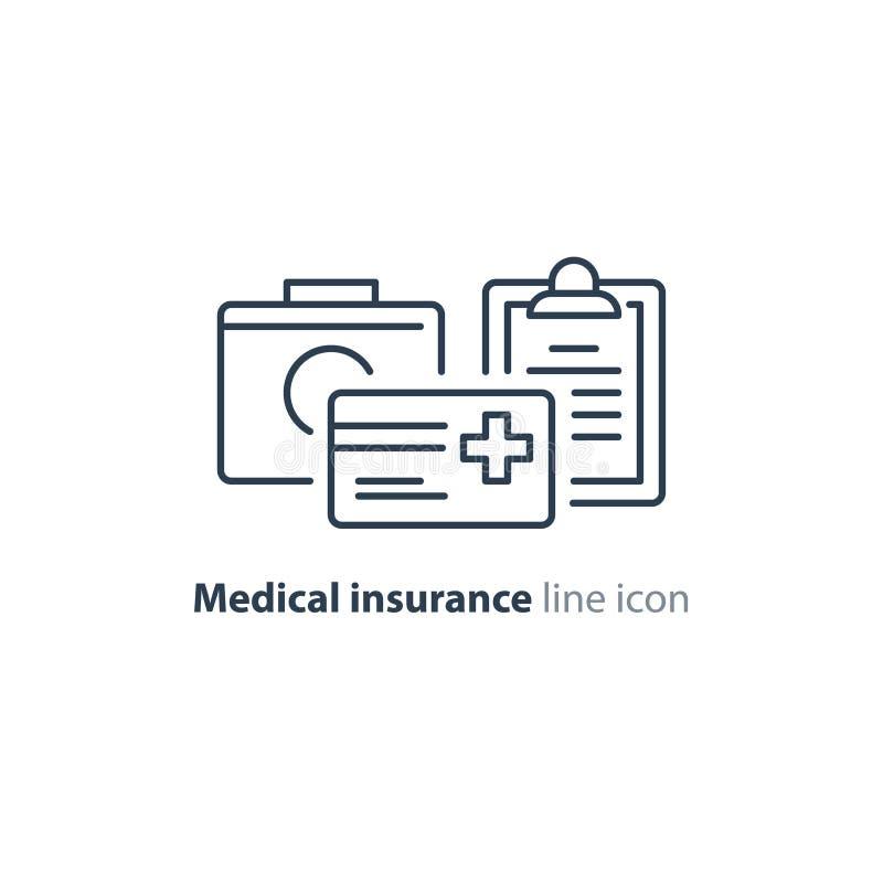 Os cuidados médicos prestam serviços de manutenção à linha fina ícone, logotipo do cartão do seguro ilustração royalty free