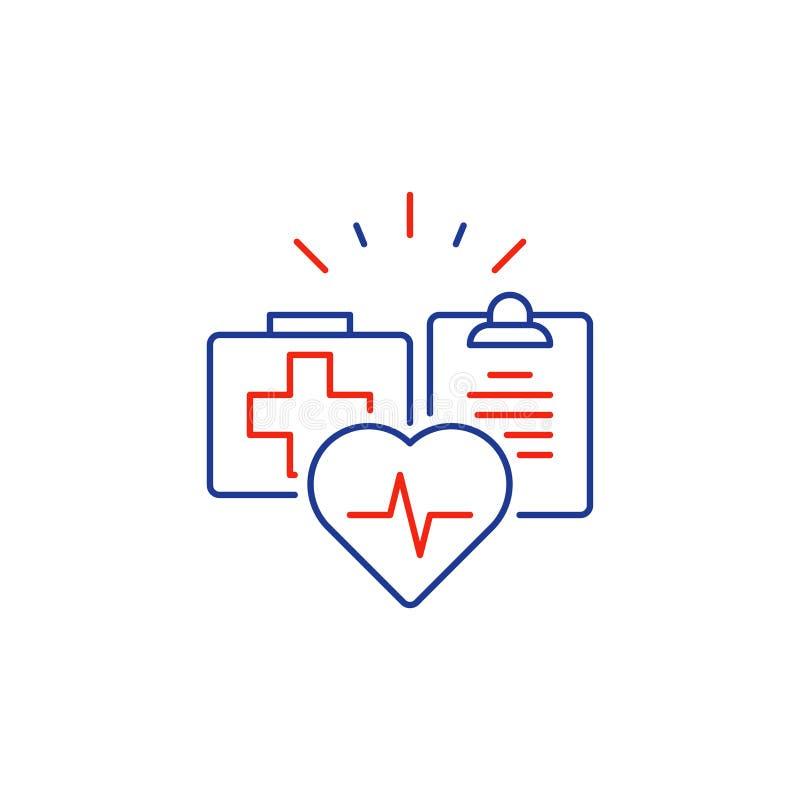 Os cuidados médicos prestam serviços de manutenção à linha fina ícone, logotipo do seguro médico, cardiologia do coração ilustração do vetor