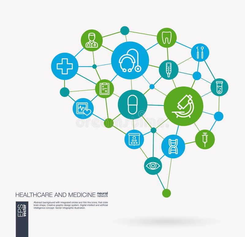 Os cuidados médicos, a psicologia, a medicina e o serviço médico integraram ícones do vetor do negócio Ideia esperta do cérebro d ilustração stock