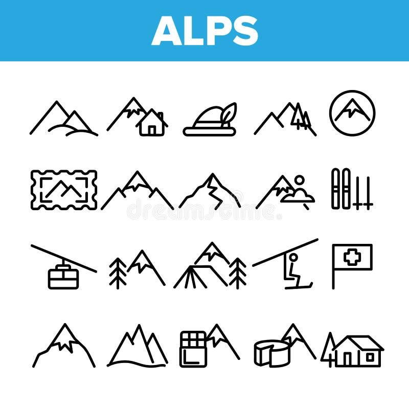 Os cumes da montanha da coleção assinam o vetor do grupo dos ícones ilustração do vetor