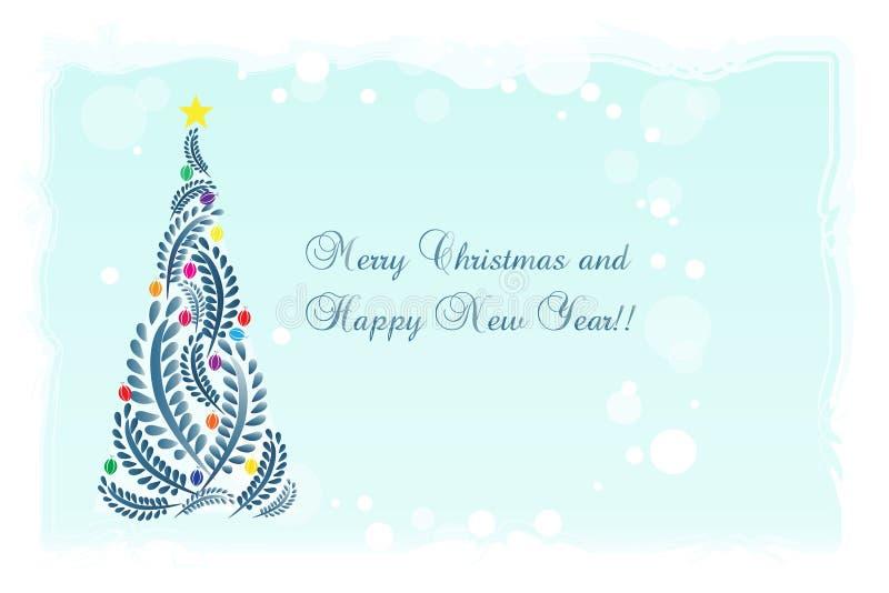 Os cumprimentos da árvore de Natal cardam o vetor floral ilustração stock
