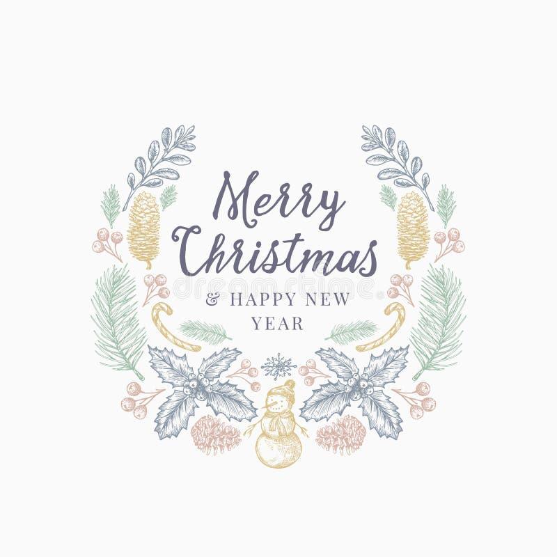 Os cumprimentos do Natal entregam a grinalda do esboço, a bandeira ou o molde tirado do cartão Ilustração abstrata do vetor do fe ilustração royalty free