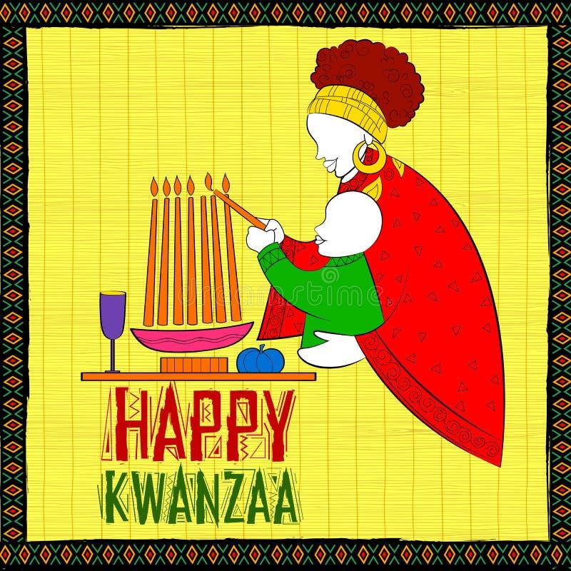 Os cumprimentos felizes de Kwanzaa para a celebração do festival afro-americano do feriado colhem ilustração do vetor