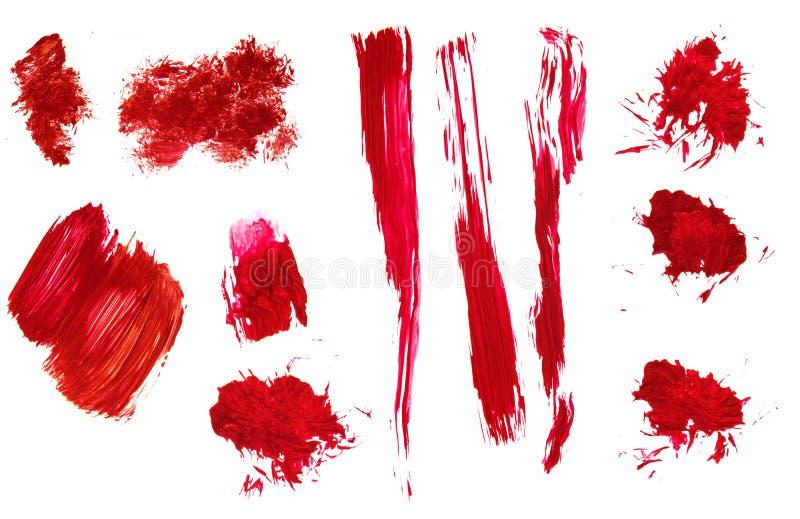 Os cursos acrílicos pintados à mão abstratos vermelhos da escova e chapinham ilustração royalty free