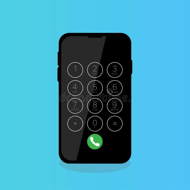 os dígitos de disqu do tela táctil do telefone celular chamam ilustração stock