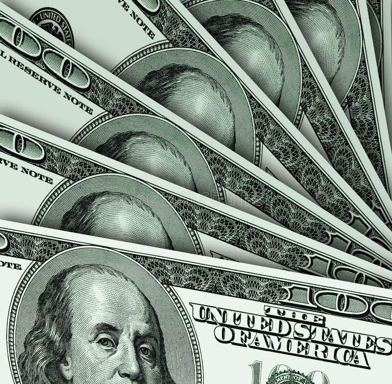 Os dólares dos EUA são decompostos por um fã ilustração stock