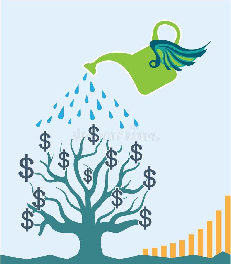 Os dólares molhando do gráfico da arte do vetor da árvore do dinheiro crescem ilustração do vetor