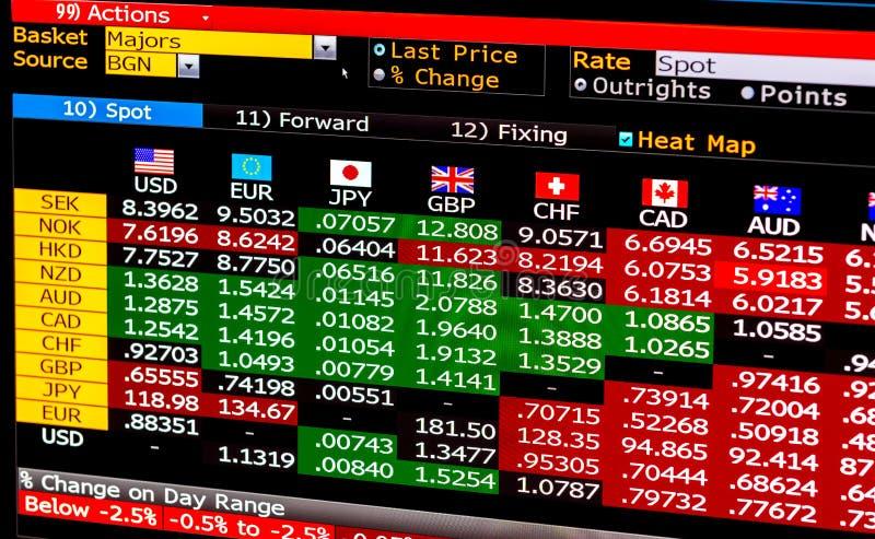 Os dados apresentam com informação financeira sobre o mercado da troca de moedas imagens de stock