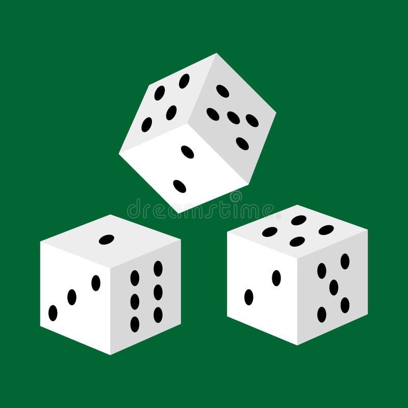 Os dados brancos de jogo para o casino, o risco e o sucesso jogando o jogo do lazer vector a ilustração, número afortunado três ilustração royalty free
