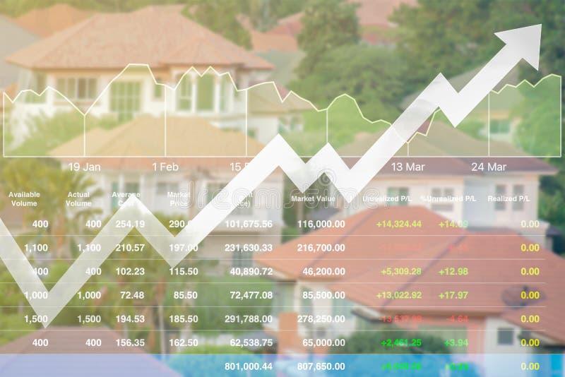 Os dados do índice da finança do negócio de bens imobiliários armazenam o risi do fundo fotos de stock royalty free