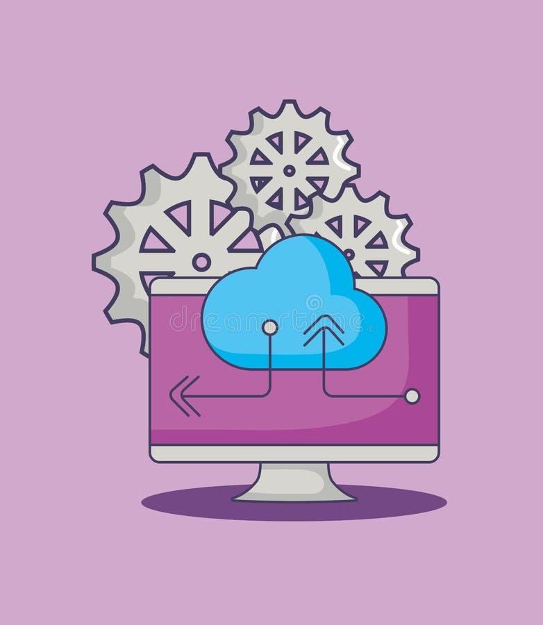 Os dados do armazenamento da nuvem do computador alinham a inovação ilustração stock