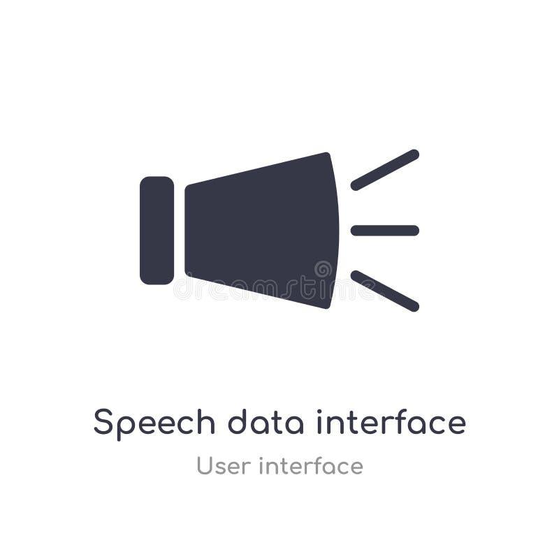 os dados do discurso conectam o ícone audio do esboço linha isolada ilustra??o do vetor da cole??o da interface de usu?rio curso  ilustração do vetor
