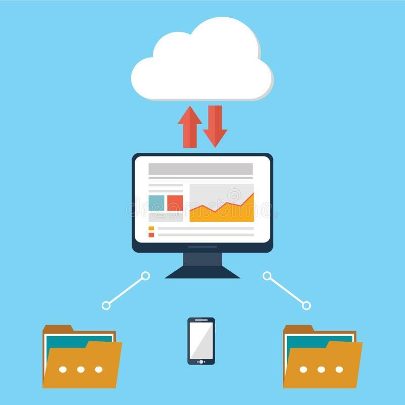 Os dados do dispositivo do computador nublam-se a ilustração lisa do vetor do projeto da segurança do armazenamento ilustração stock
