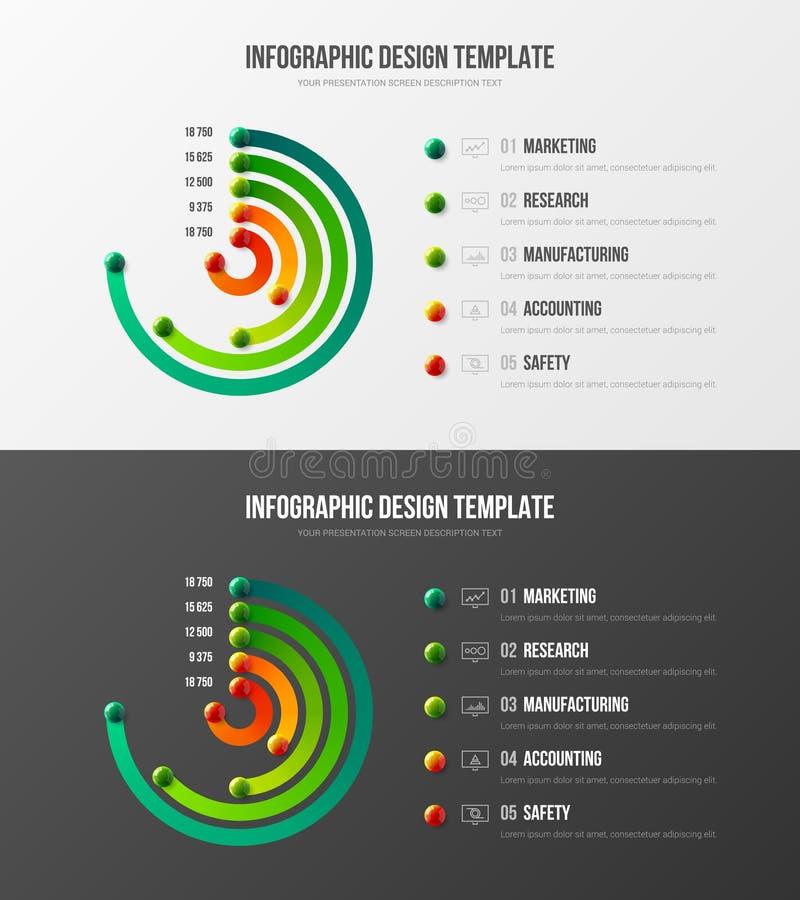 Os dados do mercado da empresa relatam a disposição de projeto radial da apresentação da barra ilustração do vetor