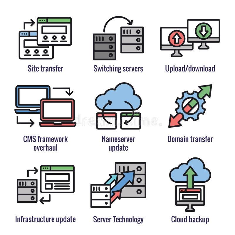 Os dados do Web site transferem o ícone ajustado com portáteis, setas, & aparência de transferência ilustração royalty free