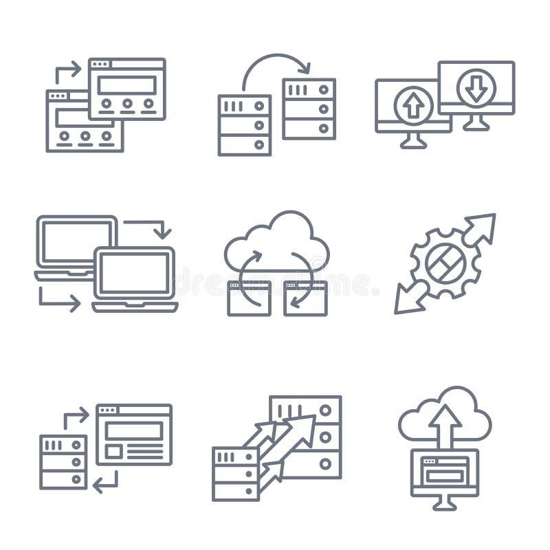 Os dados do Web site transferem o ícone ajustado com portáteis, setas, & aparência de transferência ilustração stock
