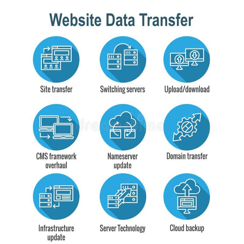 Os dados do Web site transferem o ícone ajustado com portáteis, setas, & aparência de transferência ilustração do vetor