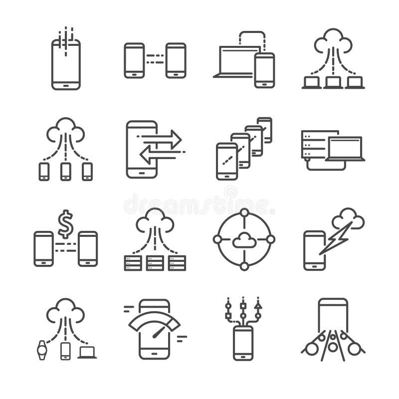 Os dados e transferência de dados grandes relacionaram a linha grupo do vetor do ícone Contém ícones como a nuvem, armazenamento, ilustração stock