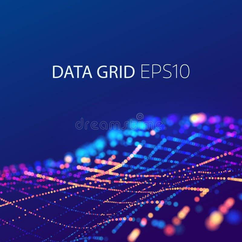Os dados engrenam a conexão fundo 3D futurista Onda colorida da energia ilustração do vetor
