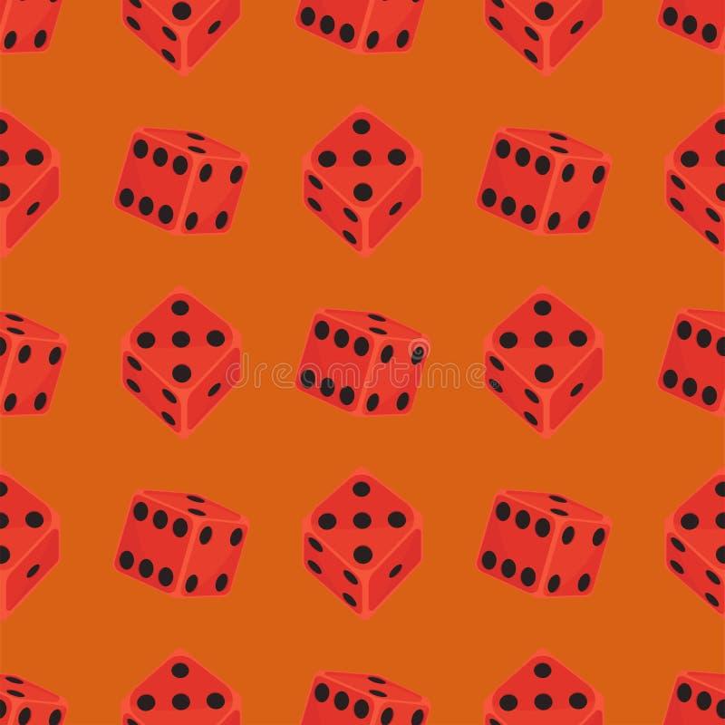 Os dados isométricos numeram o casino afortunado da fortuna do jogo ilustração sem emenda do vetor do cubo do jogo da perda das v ilustração stock