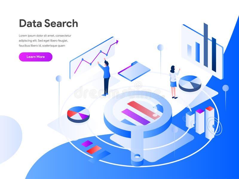 Os dados procuram o conceito isométrico da ilustração r Vetor ilustração stock