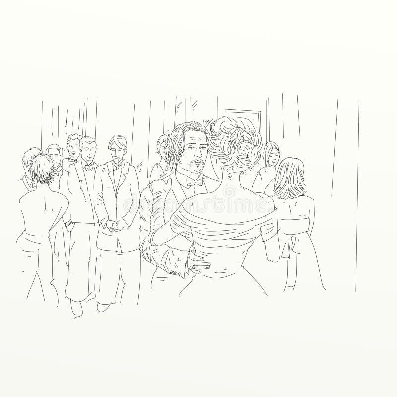 Os dançarinos em uma dança do partido que flutua no ar com roupa fresca silkscreen ilustração stock