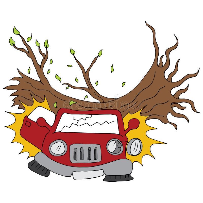 Os danos do ramo de árvore estacionaram o carro ilustração stock