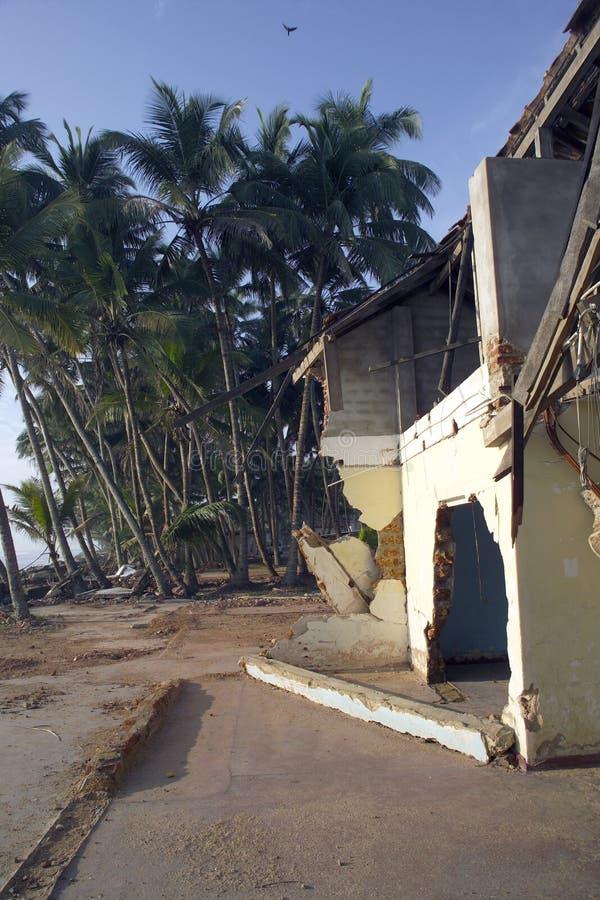Os danos do tsunami em Sri Lanka fotografia de stock royalty free