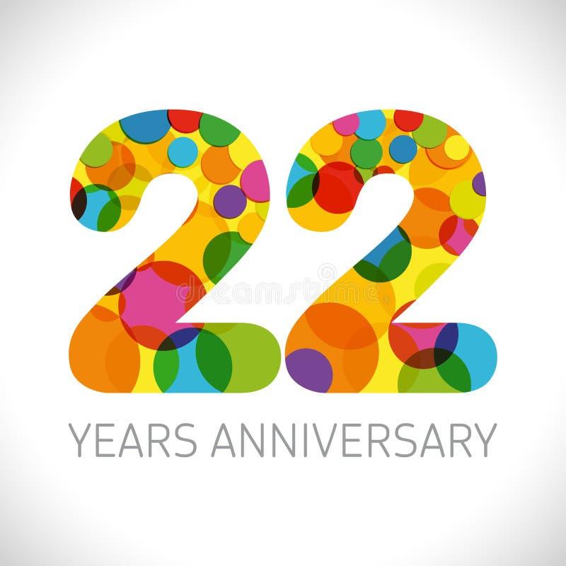 22 a?os de aniversario stock de ilustración