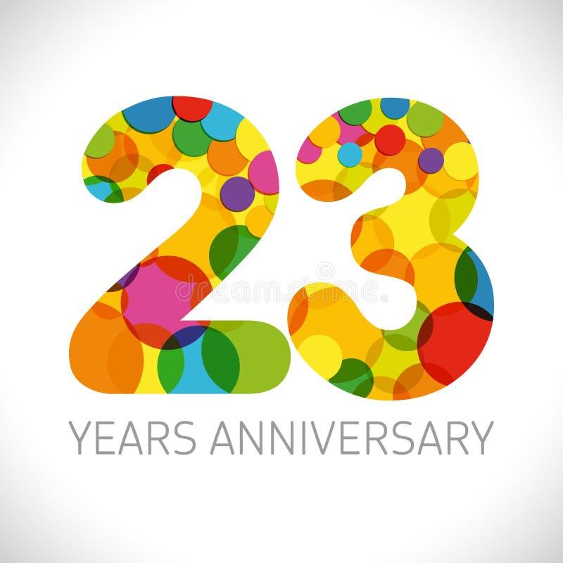 23 a?os de aniversario ilustración del vector