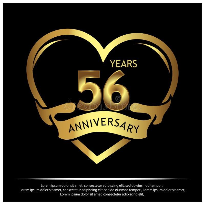 56 a?os de aniversario de oro dise?o de la plantilla del aniversario para la web, juego, cartel creativo, folleto, prospecto, avi ilustración del vector