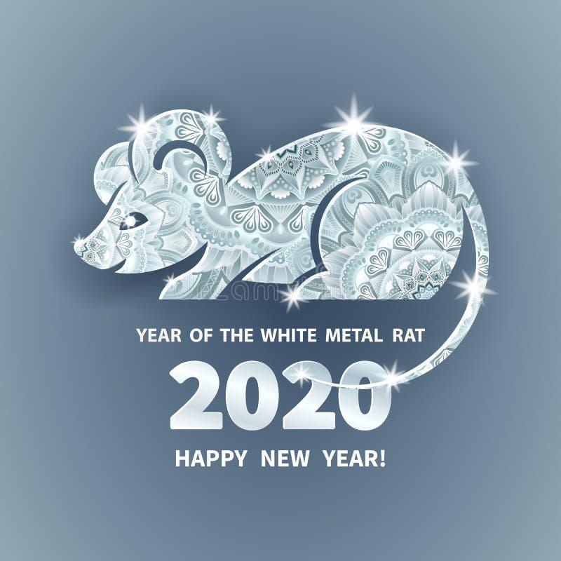 2020 a?os de la rata stock de ilustración