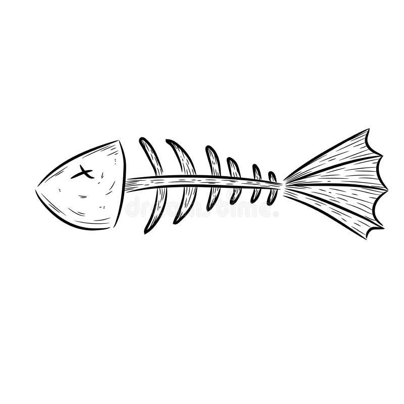 Os de poissons, squelette de poissons illustration stock