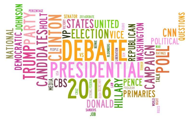 Os debates da eleição presidencial dos EUA na palavra etiquetam a nuvem ilustração stock