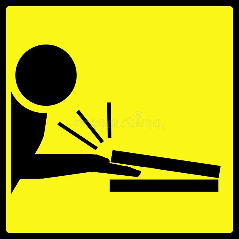 Os dedos comprimiram o sinal de aviso ilustração do vetor