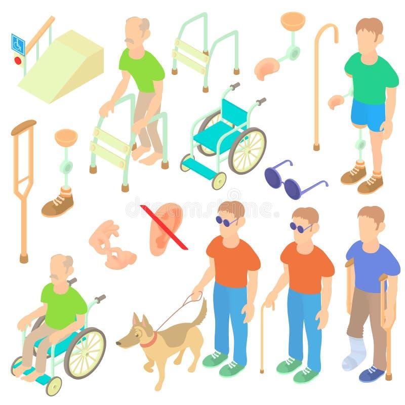 Os deficientes motores dos ícones do cuidado ajustaram-se, o estilo 3d isométrico ilustração do vetor