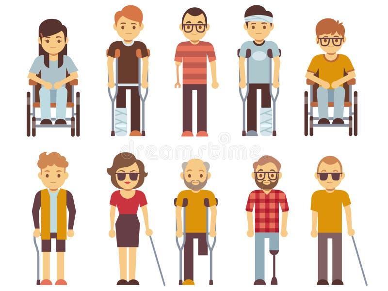 Os deficientes motores vector o grupo pessoas inválidas idosas e novas isoladas no fundo branco ilustração do vetor