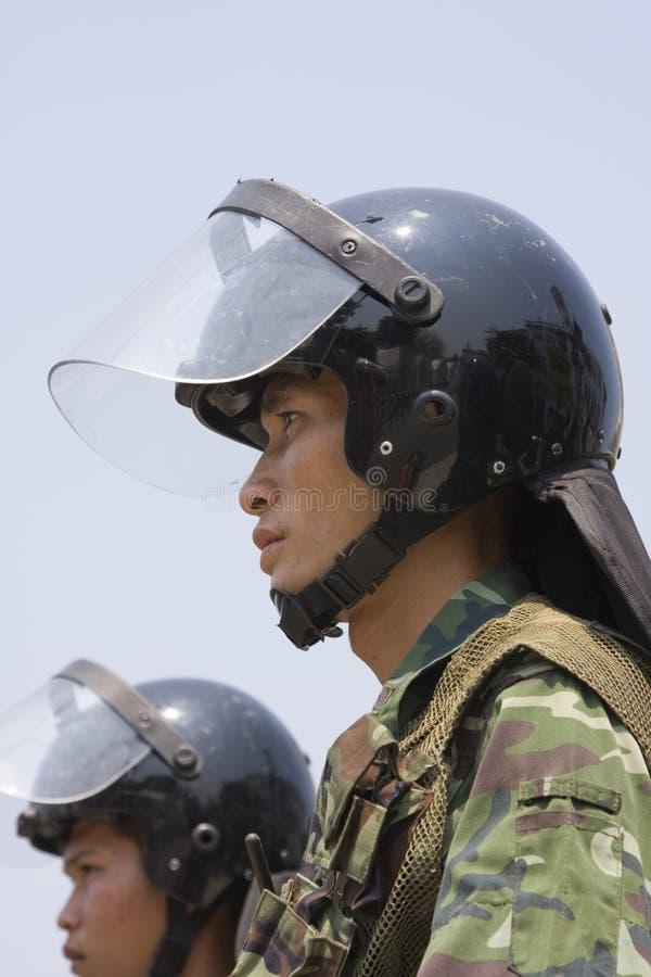 Os demonstradores convirgiram no capital tailandês imagens de stock royalty free