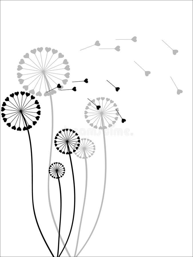 Os dentes-de-leão em o verão. ilustração do vetor