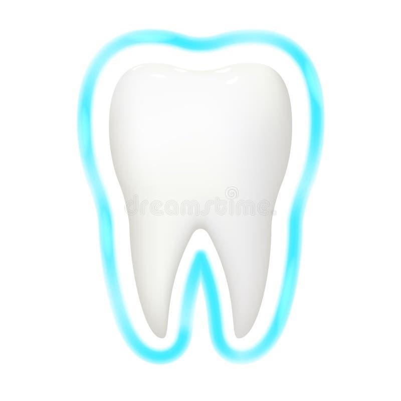 Os dentes dentais do stomatology 3d realístico do fulgor da aura da proteção do dente importam-se a ilustração isolada do vetor d ilustração stock
