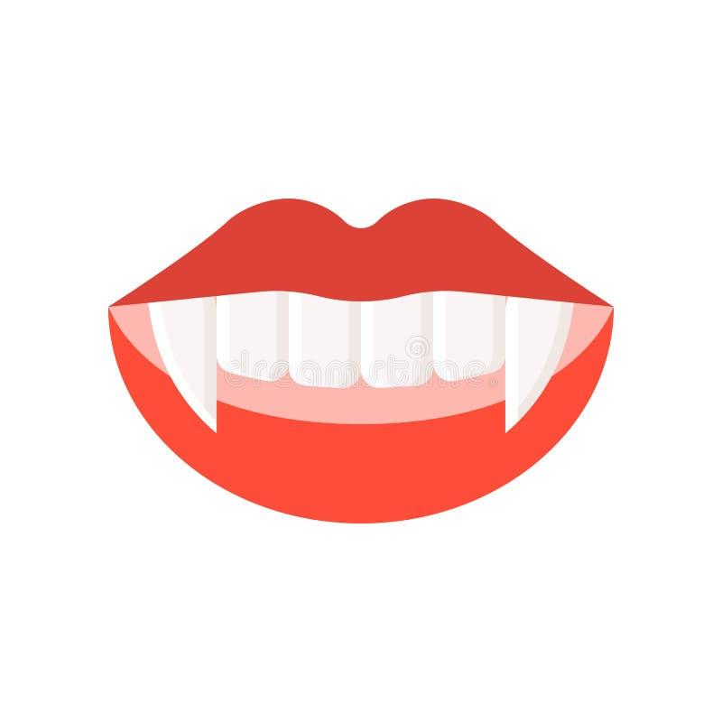 Os dentes do vampiro, Dia das Bruxas relacionaram o ícone, projeto liso ilustração stock