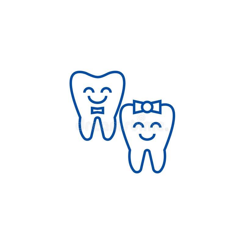Os dentes importam-se, linha feliz conceito do dente do ícone Os dentes importam-se, símbolo liso do vetor do dente feliz, sinal, ilustração do vetor