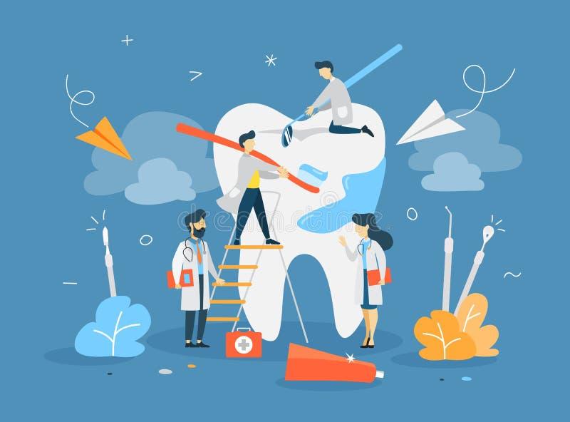 Os dentistas pequenos tratam o dente gigante ilustração stock