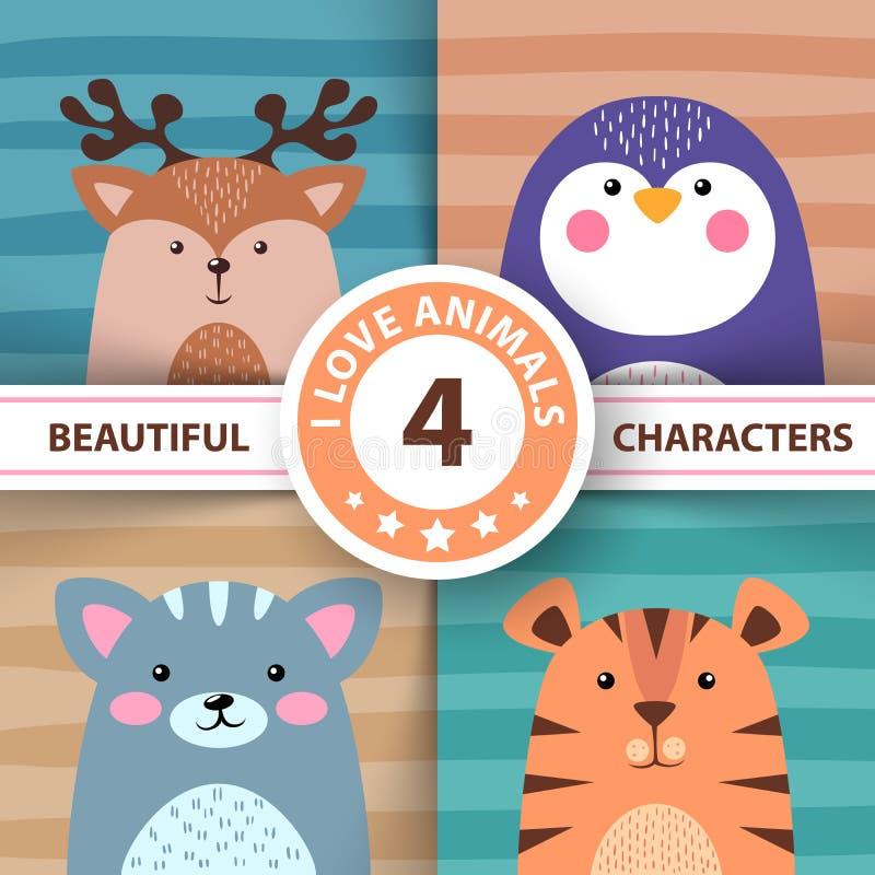 Os desenhos animados ajustaram animais - cervos, pinguim, gato, tigre ilustração do vetor